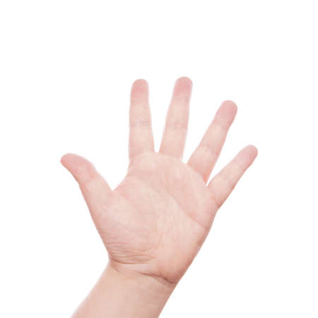 bodypart: hand sign counting five Stock Photo