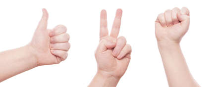 hand gestures: hand sign Stock Photo