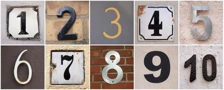 set of house numbers from 1 to 10