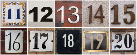 number 14: set of house numbers from 11 to 20 Stock Photo