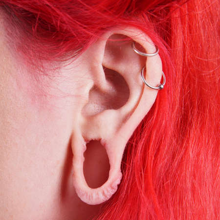 bodypart: stretched ear lobe piercing and 2 helix piercings
