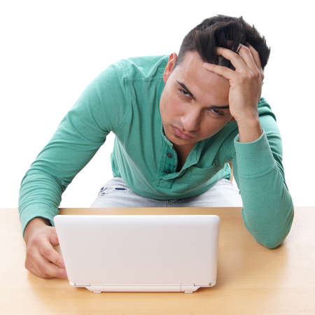 desperate man with laptop computer photo