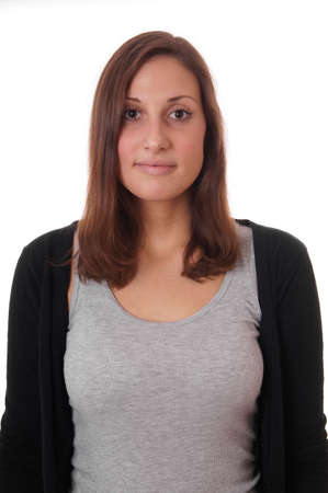 young woman with neutral but friendly expression