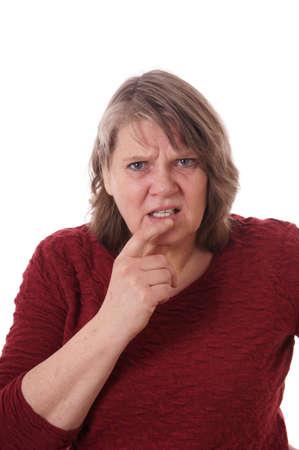 elderly woman looking confused