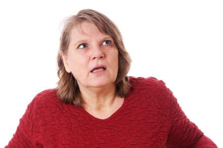 femme regarde en haut: femme choqu�e regardant