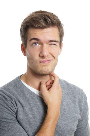 man thinking: pens�e de l'homme jeune Banque d'images