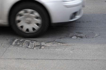 pothole   road damage Stock Photo