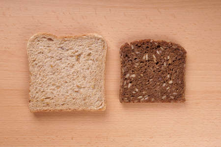 wholemeal: slices of white and brown wholemeal bread