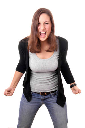 busty woman: angry woman with clenched fists shouting Stock Photo