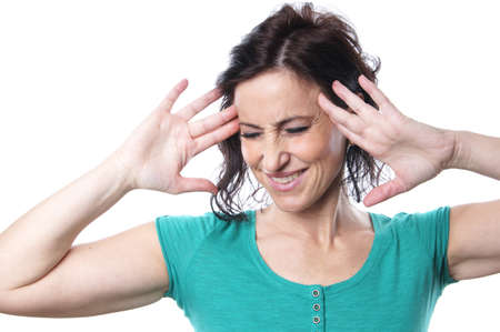 mid age: mature woman suffering from migraine Stock Photo