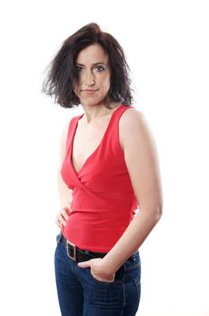40s adult: mature woman with neutral expression Stock Photo