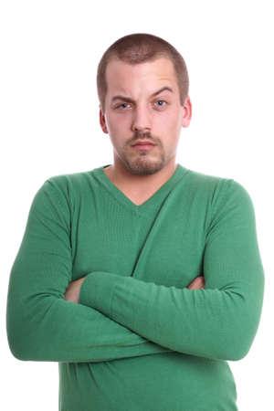 raised eyebrow: wary young man with raised eyebrow