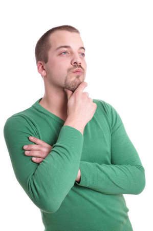pensive young man with goatee beard