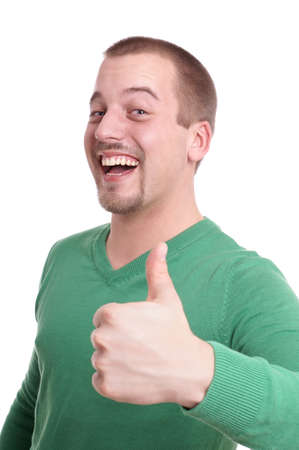 young man giving thumbs up photo