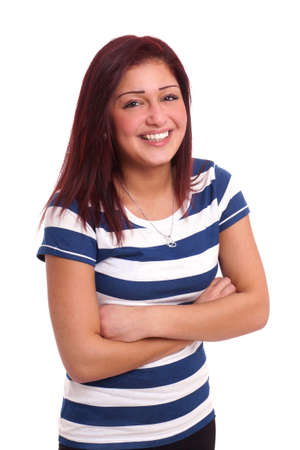 happy young woman with toothy smile photo