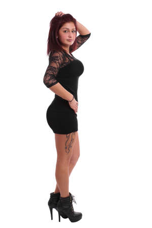 girl with little black dress and high heels photo
