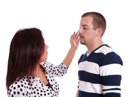 clout: young woman slapping a young man Stock Photo
