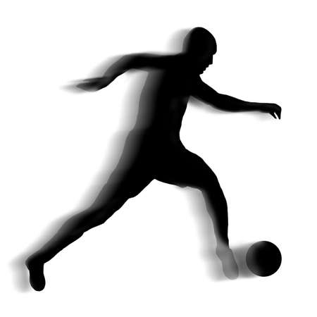 silhouette of a football player with motion blur photo
