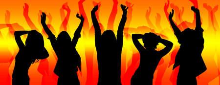 gente bailando: siluetas de la gente del partido que bailan