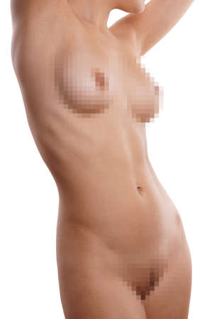 female nudity: naked female torso with pixelated breasts and pubes