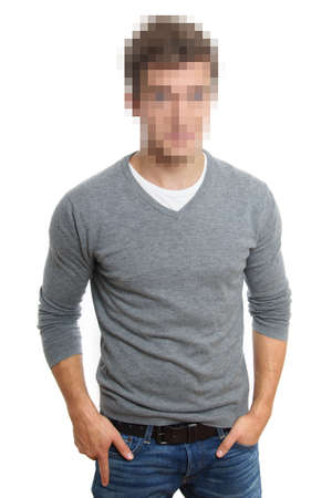 obscured face: pixelated face to preserve anonymity