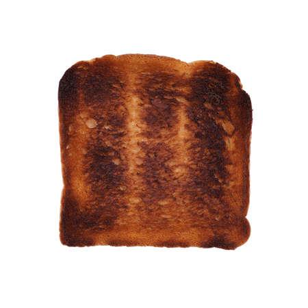 burned toast isolated on white