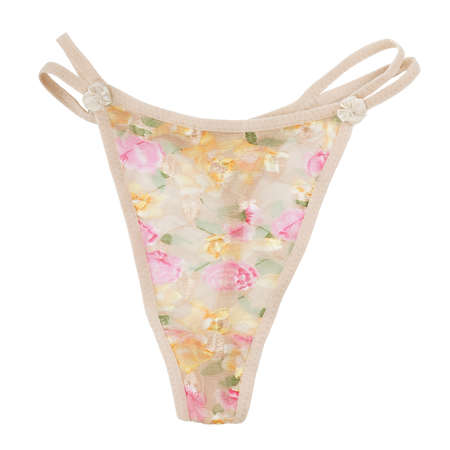 transparent thong with floral pattern