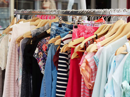 clothing rack: clothes rack with a selection of ladies fashion