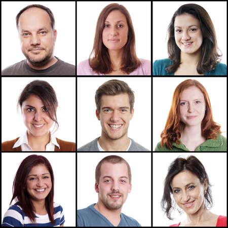 collage caras: colecci�n de 9 mujeres y hombres entre 18 y 45 a�os cauc�sico diferentes