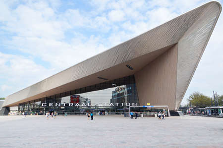 officially: Rotterdam, Netherlands - September, 16: Rotterdam Centraal railway station on September 16, 2014. The new station building was officially opened on March 13, 2014.                              Editorial