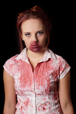 female zombie with blood splatter