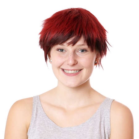 cute teen girl: smiling young woman with boyish short hair cut
