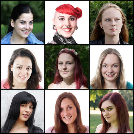 collection of 9 different caucasian women ranging from 18 to 30 years photo