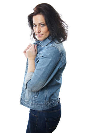 mature brunette: mature woman dressed in jeans