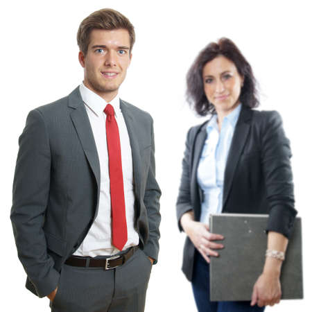 young business manager with secretary holding file folder in the background photo