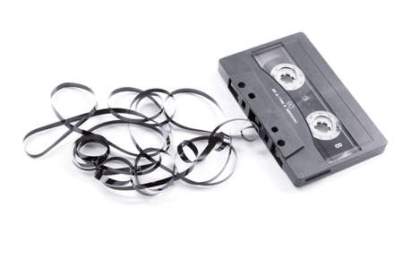 cassette tape: broken music cassette with tape jam