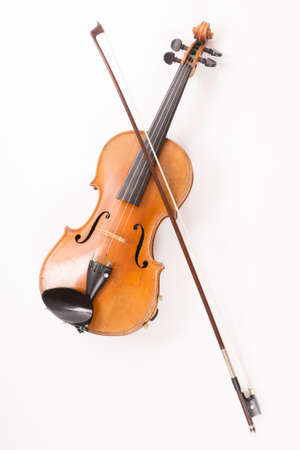 fiddle: violin with bow or fiddle with fiddlestick on white Stock Photo