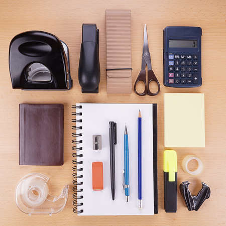 collection of miscellaneous stationery supplies and writing material