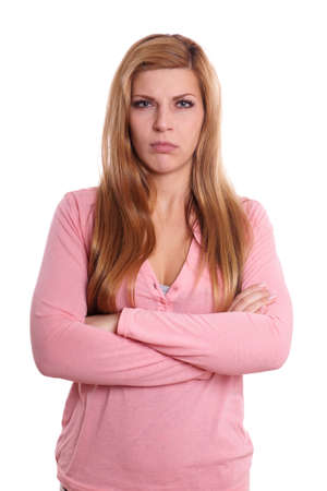 pissed off: annoyed young woman is pissed off
