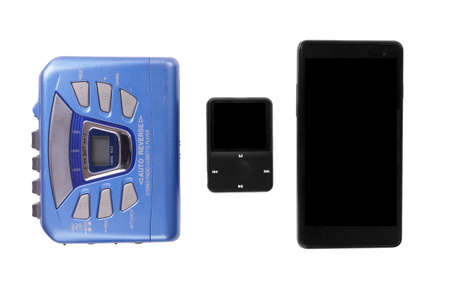 technological evolution: walkman mp3 player and smart phone technological progress