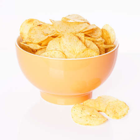 crisps: bowl of potato chips or crisps