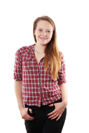 flesh: young woman with long blond hair and checkered blouse