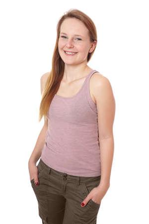 tank top: young woman wearing pink tank top and khaki pants Stock Photo