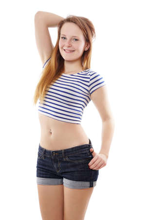 modern pinup girl wearing hot pants and stripy belly top