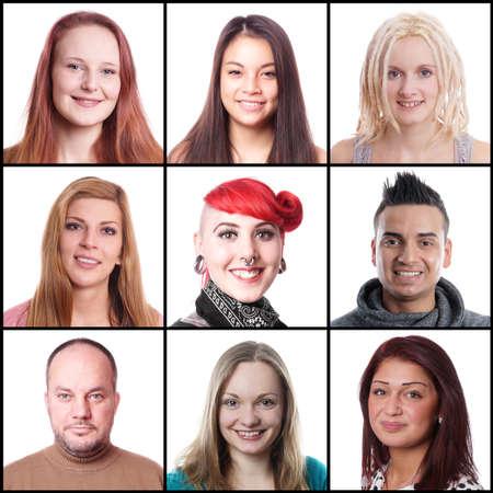 9 の異なる多民族女性と男性 18 から 45 年に至るまでのコレクション