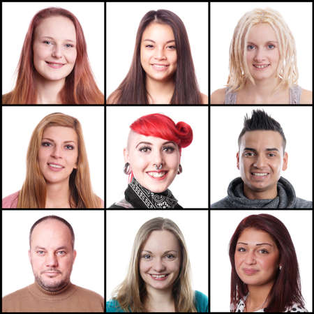 collection of 9 different multi-ethnic women and men ranging from 18 to 45 years