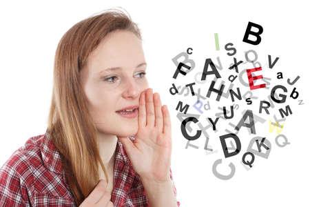 Unsinn: junge Frau im Gespr�ch oder Kauderwelsch Kauderwelsch