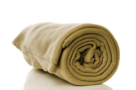 homeware: fleece blanket in khaki or olive green color Stock Photo