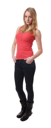 full length body shot of a cool young woman wearing jeans and tanktop Stock Photo