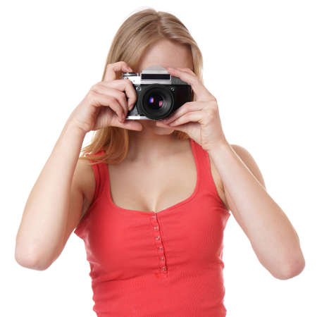 tanktop: young woman taking picture with analog 35mm camera